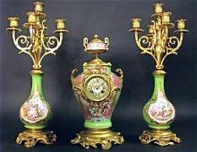 19th C. Hand Painted Sevres Bronze mounted Clock Set