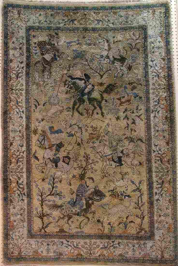 Authentic Oriental handmade silk rug