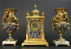 19th Century French Champleve Enamel Clock Set