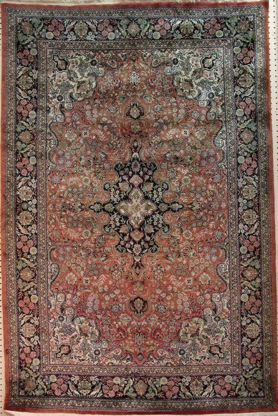 Authentic Oriental handmade silk rug