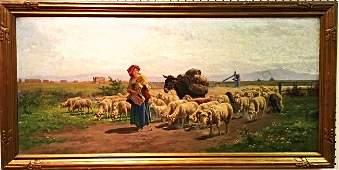 Magnificent 19th C Oil on Canvas signed A. de Simoni
