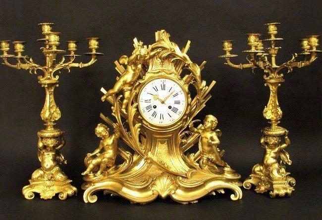 Magnificent 19th C. Figural Clock Set Signed H. Picard