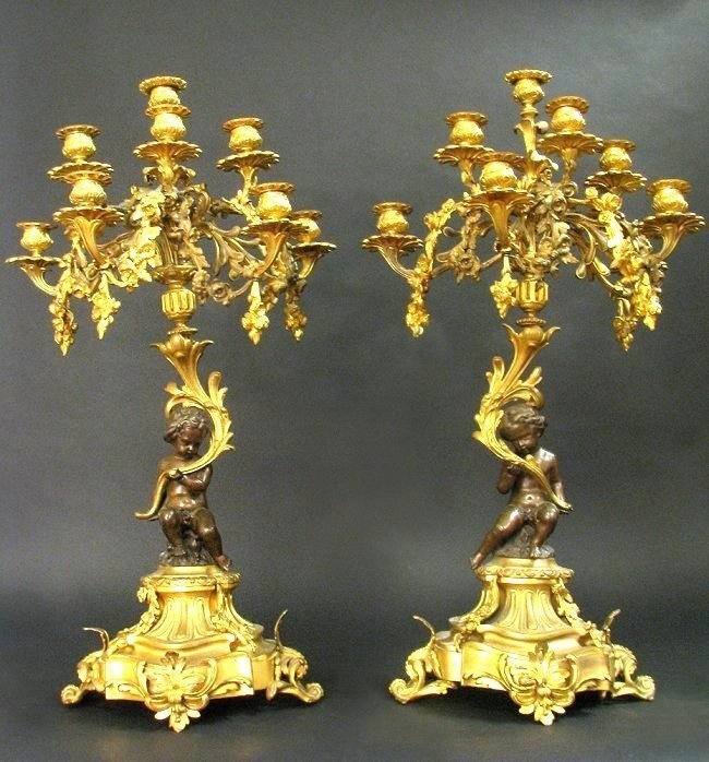 19th Century Monumental Pair of Bronze Candelabras