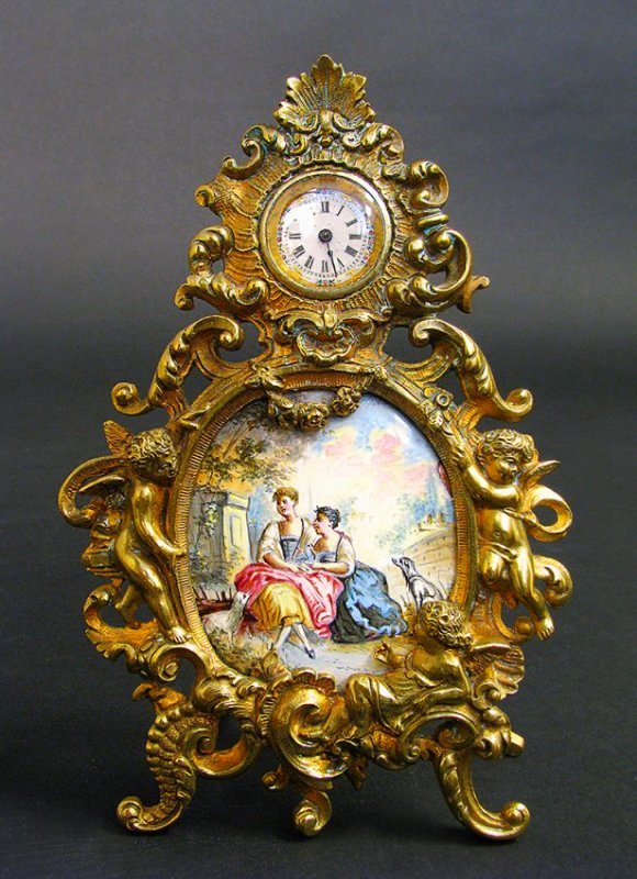 19th C Viennese Enamel & Bronze Figural Clock