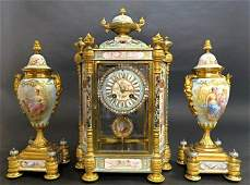 Magnificent French Champleve Enamel Clock Set