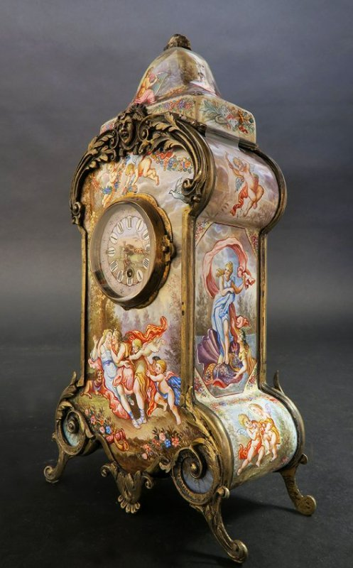 19th C. Hand Painted Viennese Enamel On Silver Clock