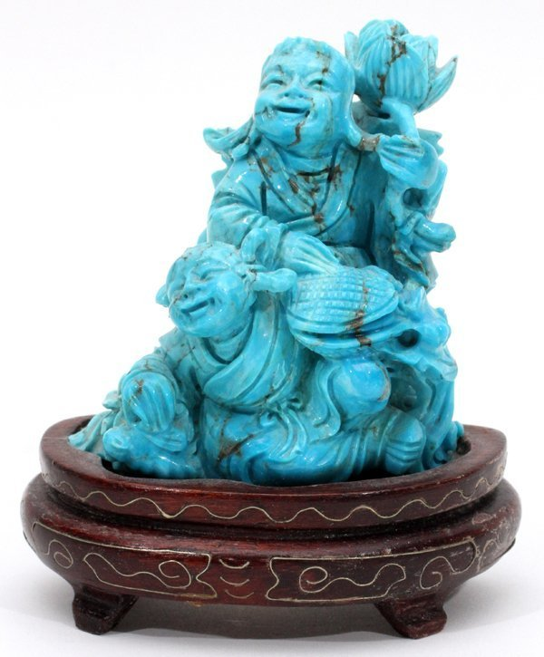Chinese Carved Turquoise Figure Group