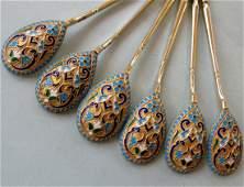 6 Imperial Russian Silver-Gilt Cloisonné Enamel Spoons