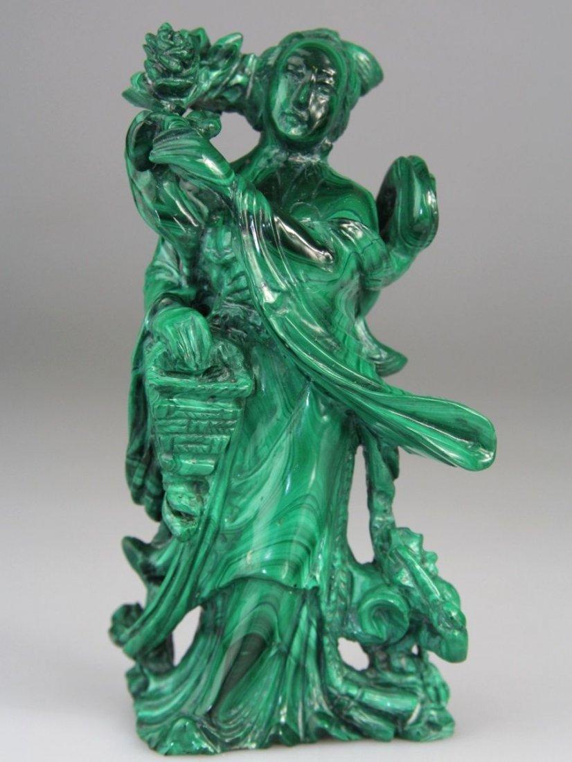 Chinese Malachite Kwanyins Buddha Stone Carved Figure