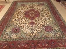 "Large & Fine Hand Woven Wool/Silk Tabriz 9' 9.5"" x 13'"