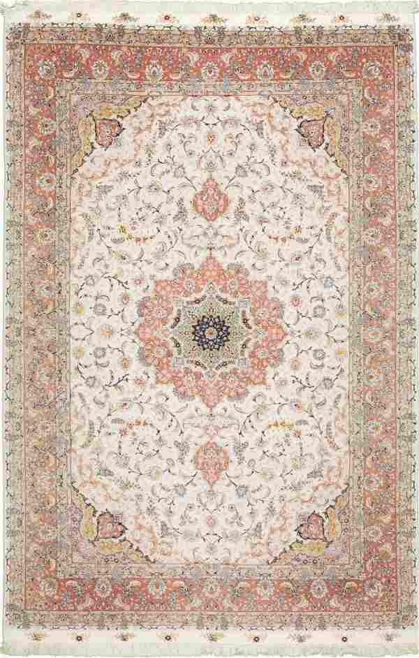 "Large Persian Rug from Tabriz Wool & Silk 6'8""x10'"