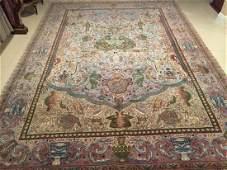 Large Handmade Persian Tabriz Pictorial Rug 8'x11'