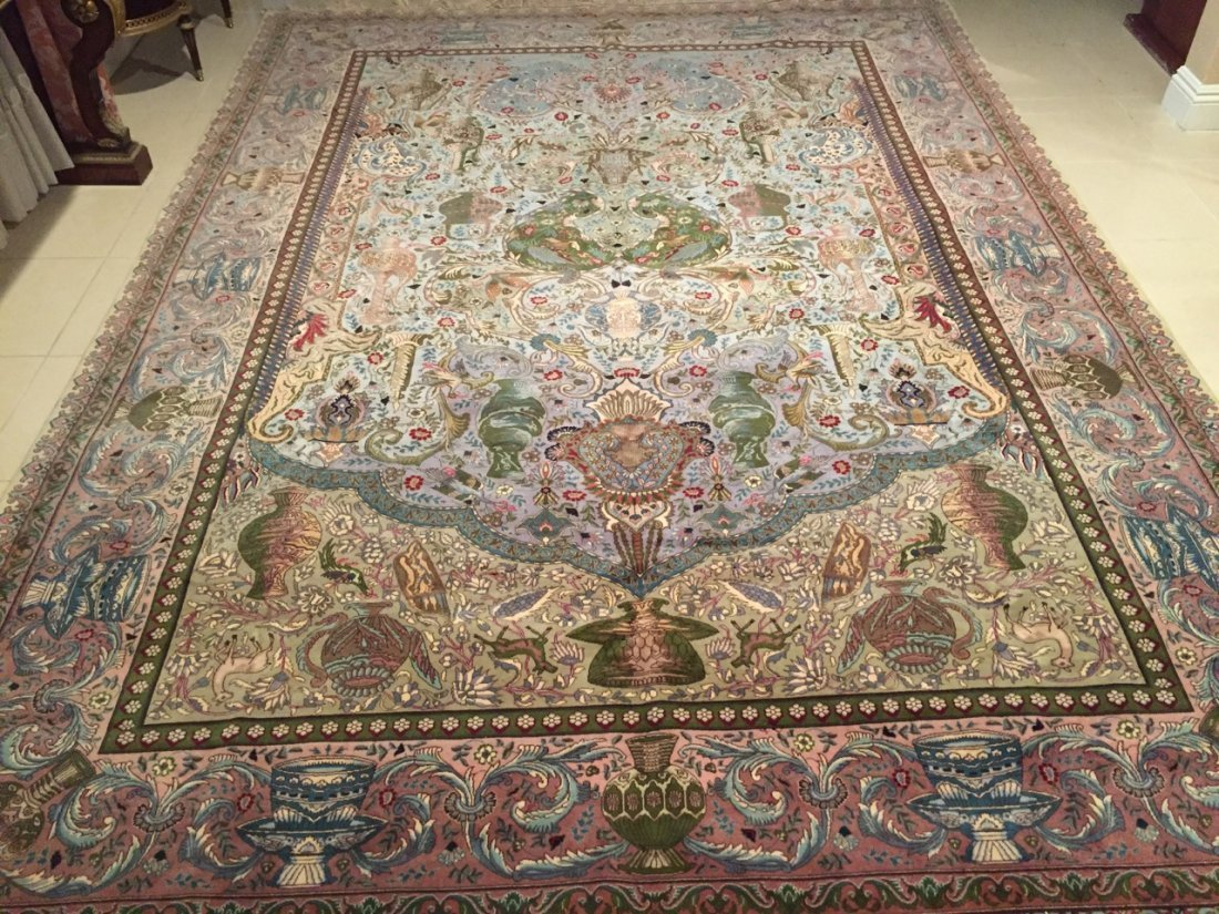 Large Handmade Persian Tabriz Pictorial Rug 8'x11'
