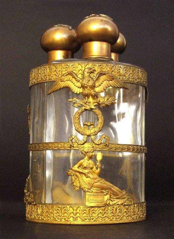 Large 19th C. triple liquor holder or perfume bottles