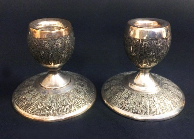 Persian Antique silver Candle Holder