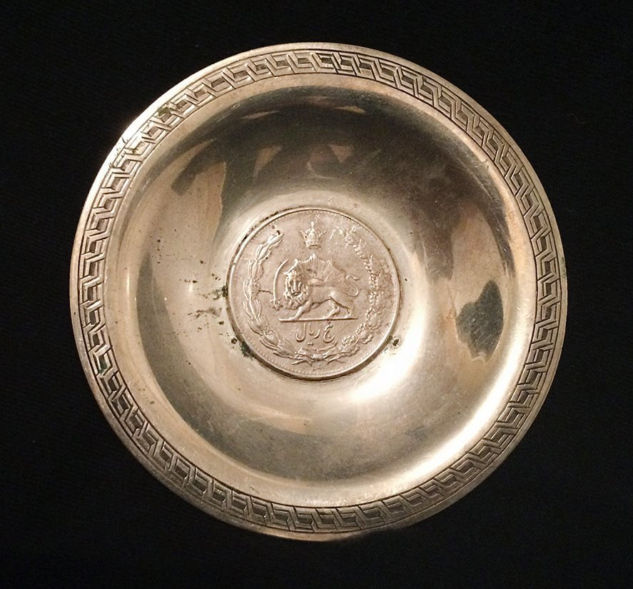 Antique Persian Silver Pin Plate