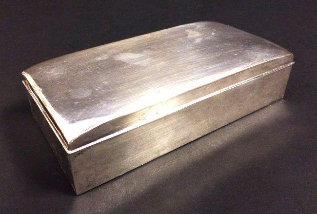 POOLE STERLING SILVER CIGARETTE BOX.