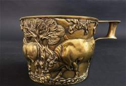 A Rare Handmade Silver Gilted 2skin Copy Of Vapheio Cup