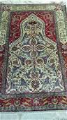 Antique Persian Silk Mihrabi Prayer Rug