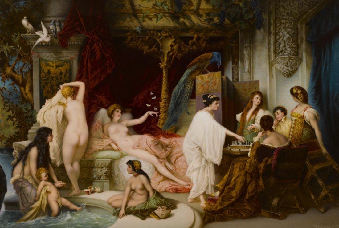 "Massive Berlin KPM Plaque ""Bathsheba at her bath"""