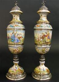 A Pair of Austrian Silver and Enamel Vases and Covers