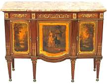Very Fine 19th C. Hand Painted Marble Top Commode