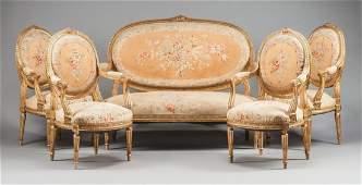 An Aubusson Tapestry Five Piece Gilt Wood Salon Set