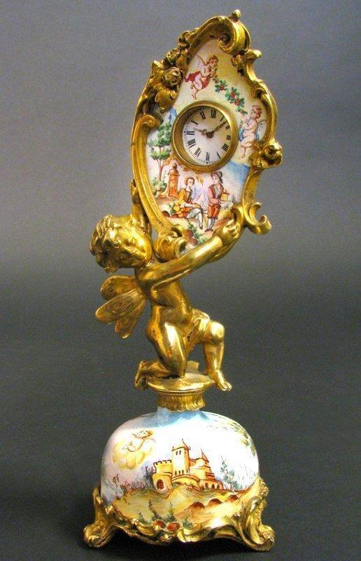 19th C. Viennese Enamel & Bronze Figural Clock