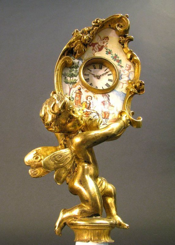 19th C. Viennese Enamel & Bronze Figural Clock - 2