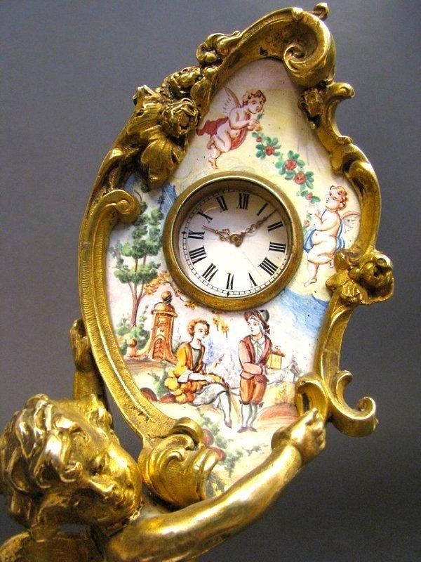 19th C. Viennese Enamel & Bronze Figural Clock - 4