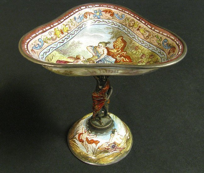 19th C. Viennese Enamel Miniature Work on Silver