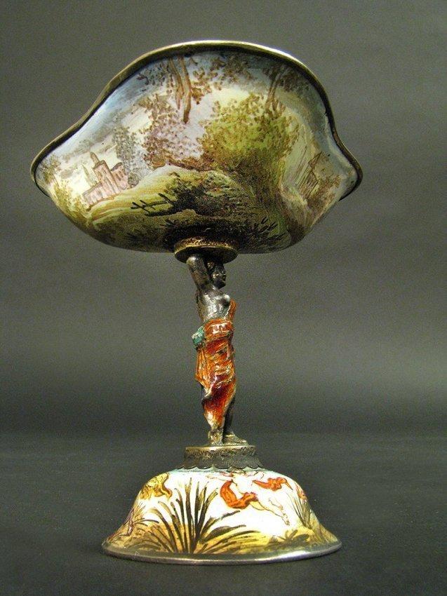 19th C. Viennese Enamel Miniature Work on Silver - 2