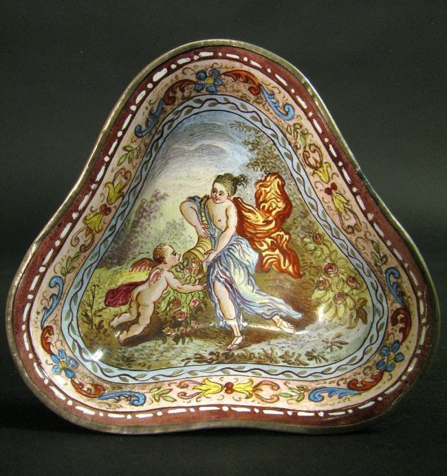 19th C. Viennese Enamel Miniature Work on Silver - 4