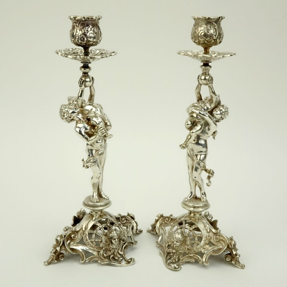 19th C. German Figural Sterling Silver Candle Sticks