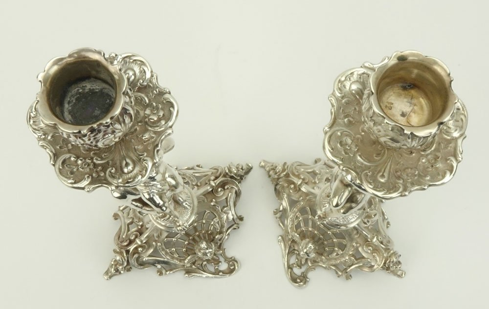 19th C. German Figural Sterling Silver Candle Sticks - 2