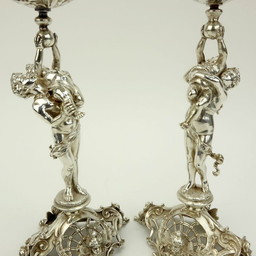 19th C. German Figural Sterling Silver Candle Sticks - 3