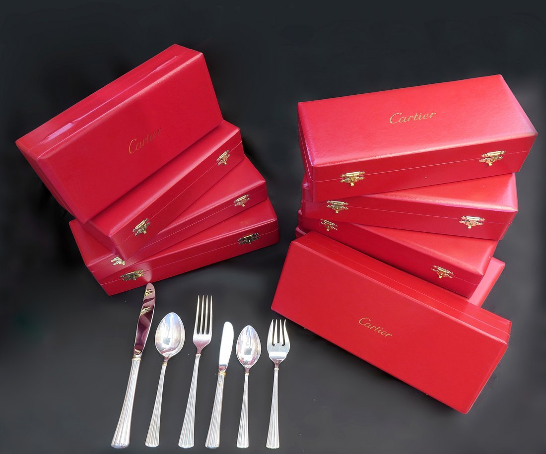 Sterling Silver Flatware Service by Cartier 84 pieces