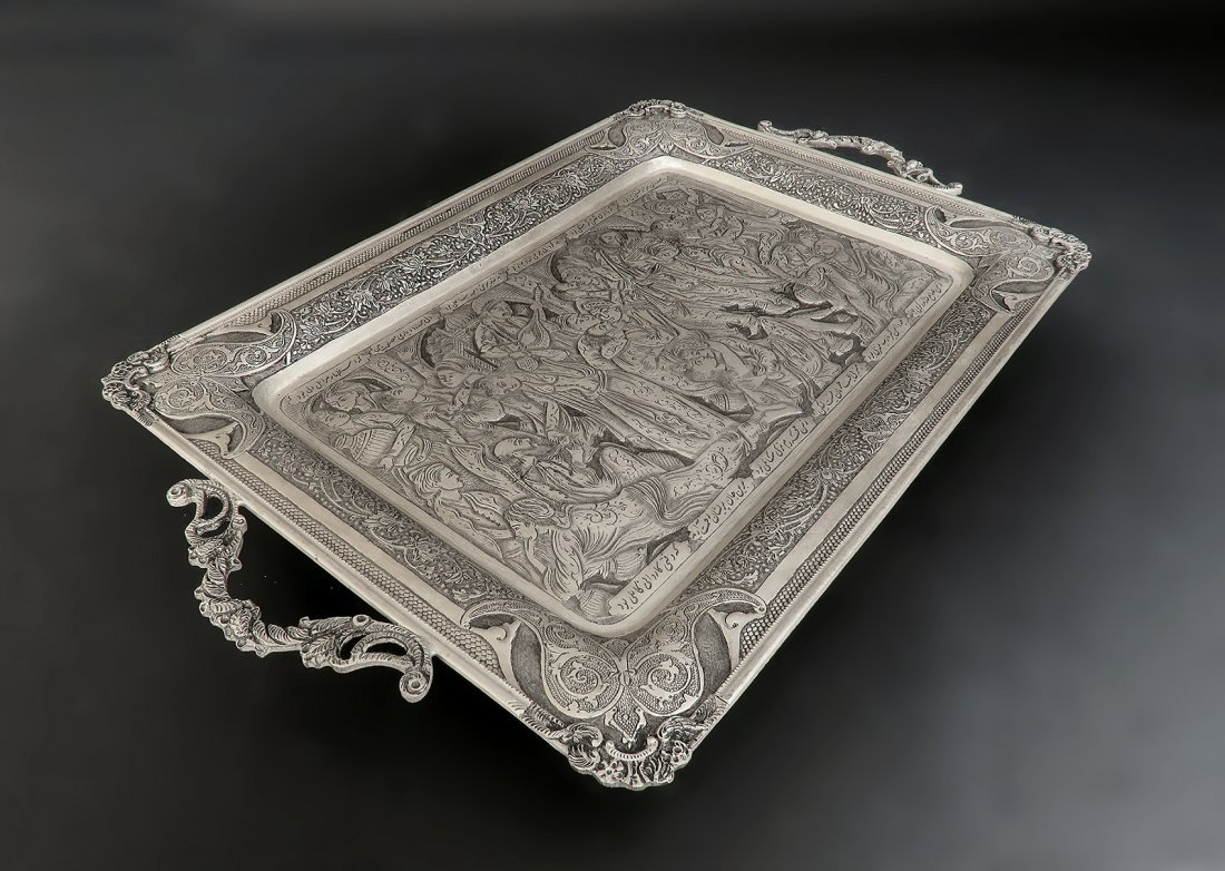Persian Hallmarked 84 Silver Hand Engraved Serving Tray - 2