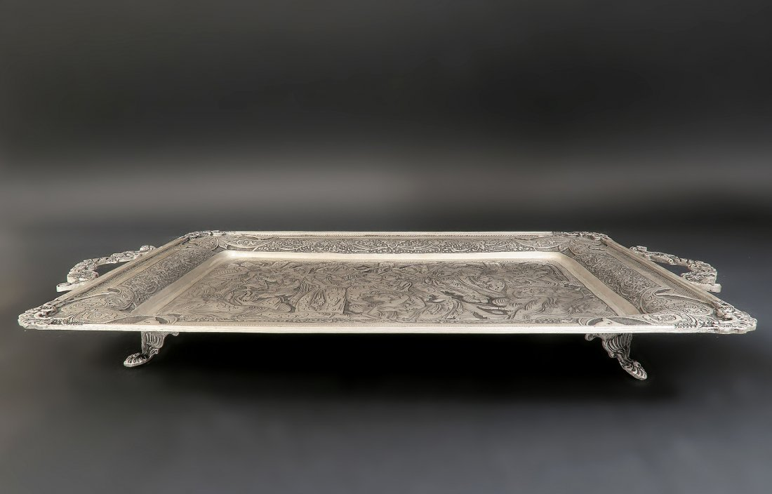 Persian Hallmarked 84 Silver Hand Engraved Serving Tray - 3