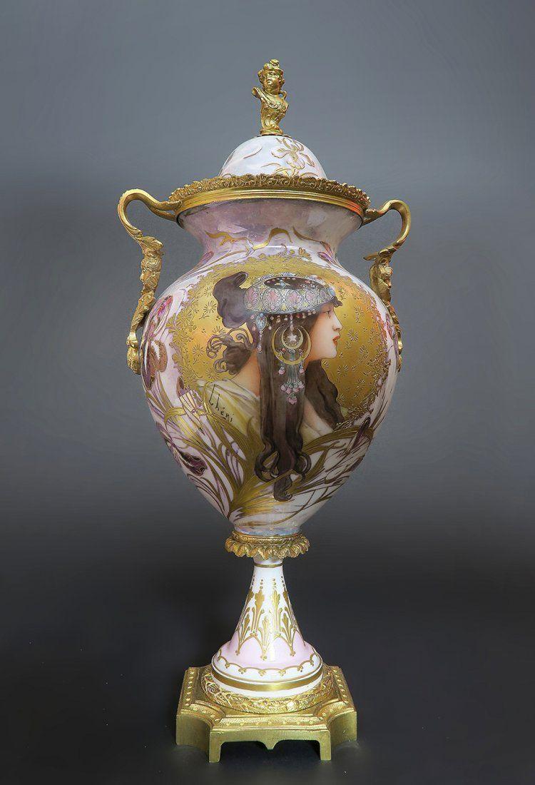 Large Art Nouveau Hand Painted Sevres Vase/Urn
