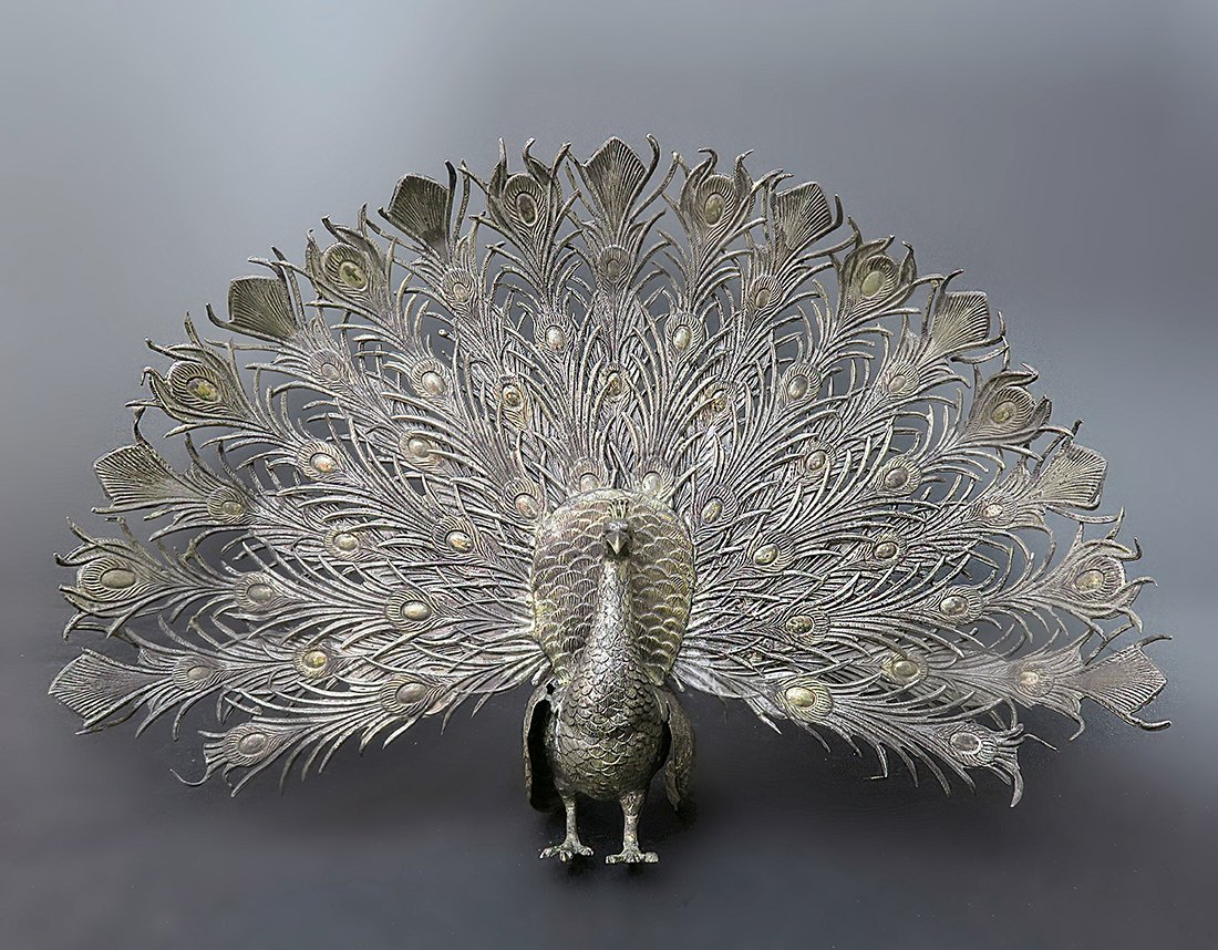 Exceptional 19th C. 925 Sterling Silver Figural Peacock