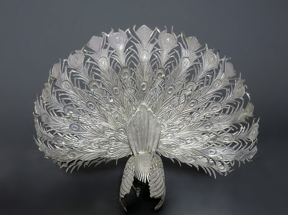 Exceptional 19th C. 925 Sterling Silver Figural Peacock - 3