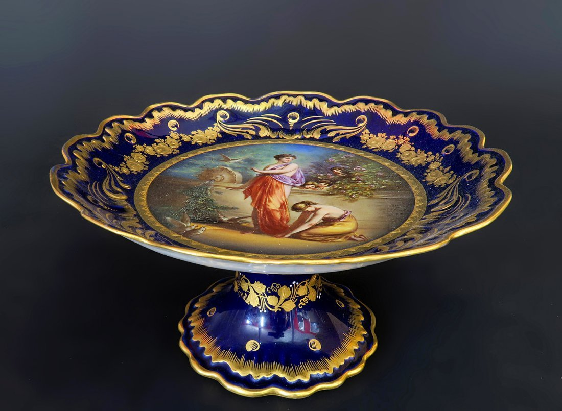 19th C. Hand Painted Royal Vienna Centerpiece/Compote