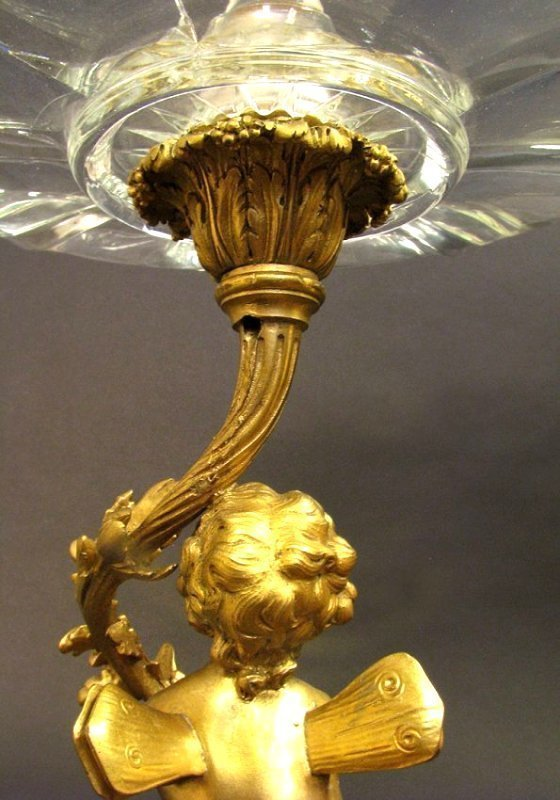 Large 19th C. Bronze and Crystal Figural Centerpiece - 5