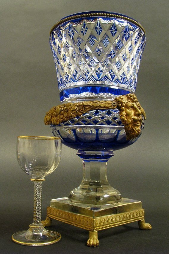 19th C. Austrian Bronze and Blue Cut Crystal Vase - 2