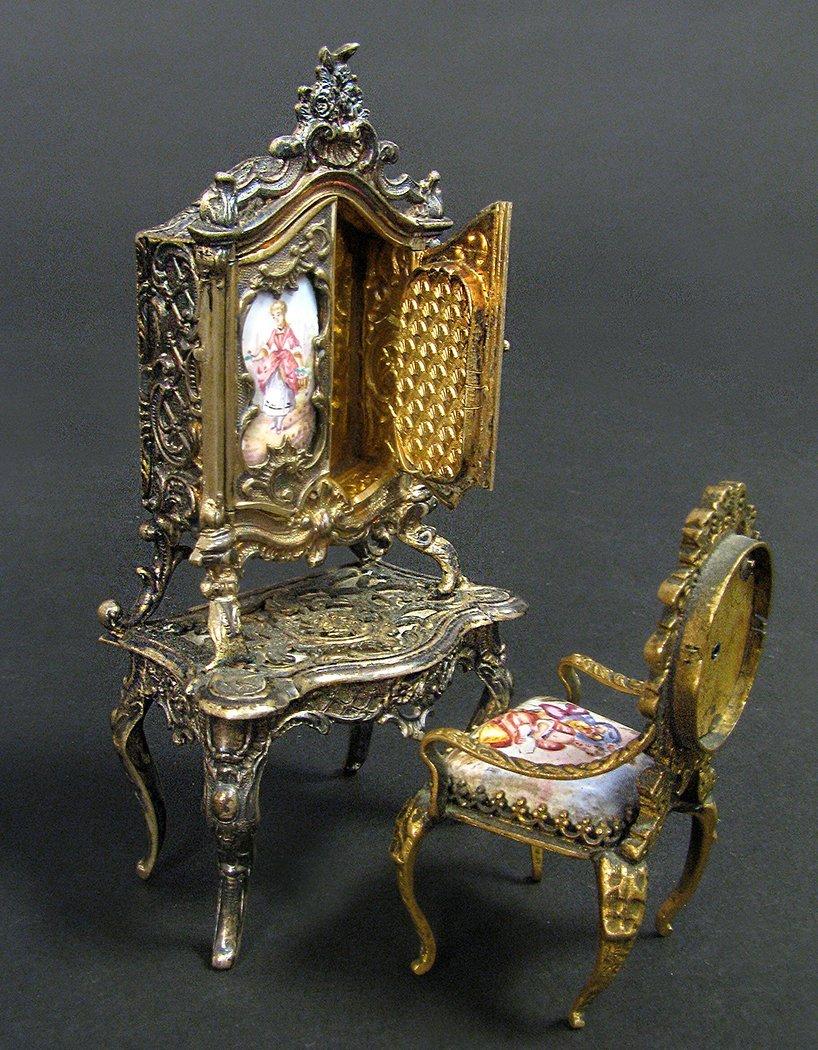 Viennese Enamel on Silver Miniature Dressing/Chair - 2