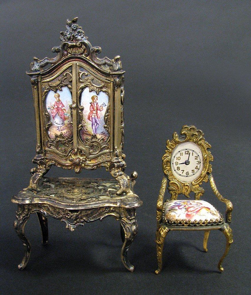 Viennese Enamel on Silver Miniature Dressing/Chair - 3