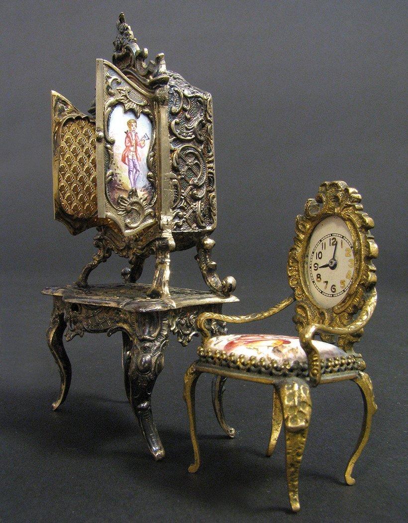 Viennese Enamel on Silver Miniature Dressing/Chair - 4