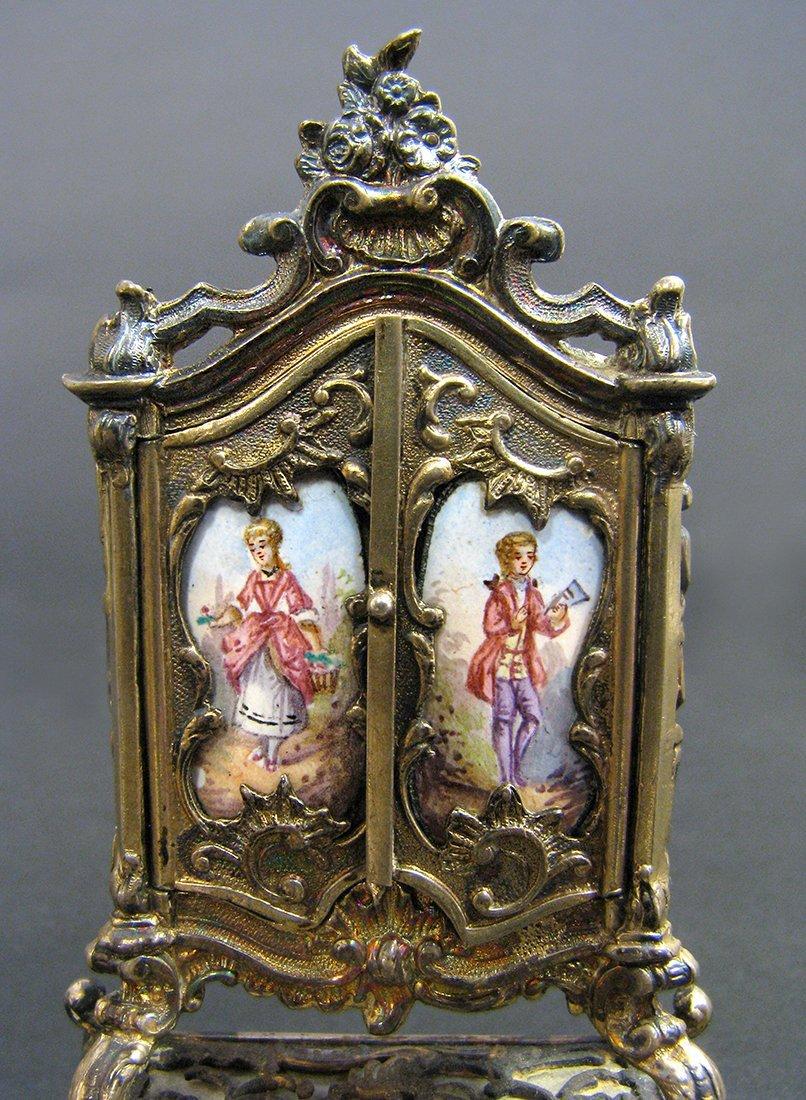 Viennese Enamel on Silver Miniature Dressing/Chair - 5