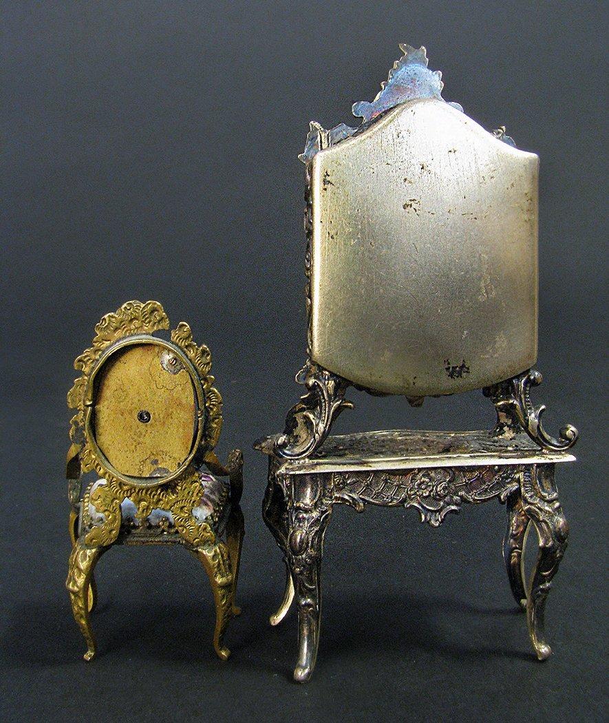 Viennese Enamel on Silver Miniature Dressing/Chair - 7
